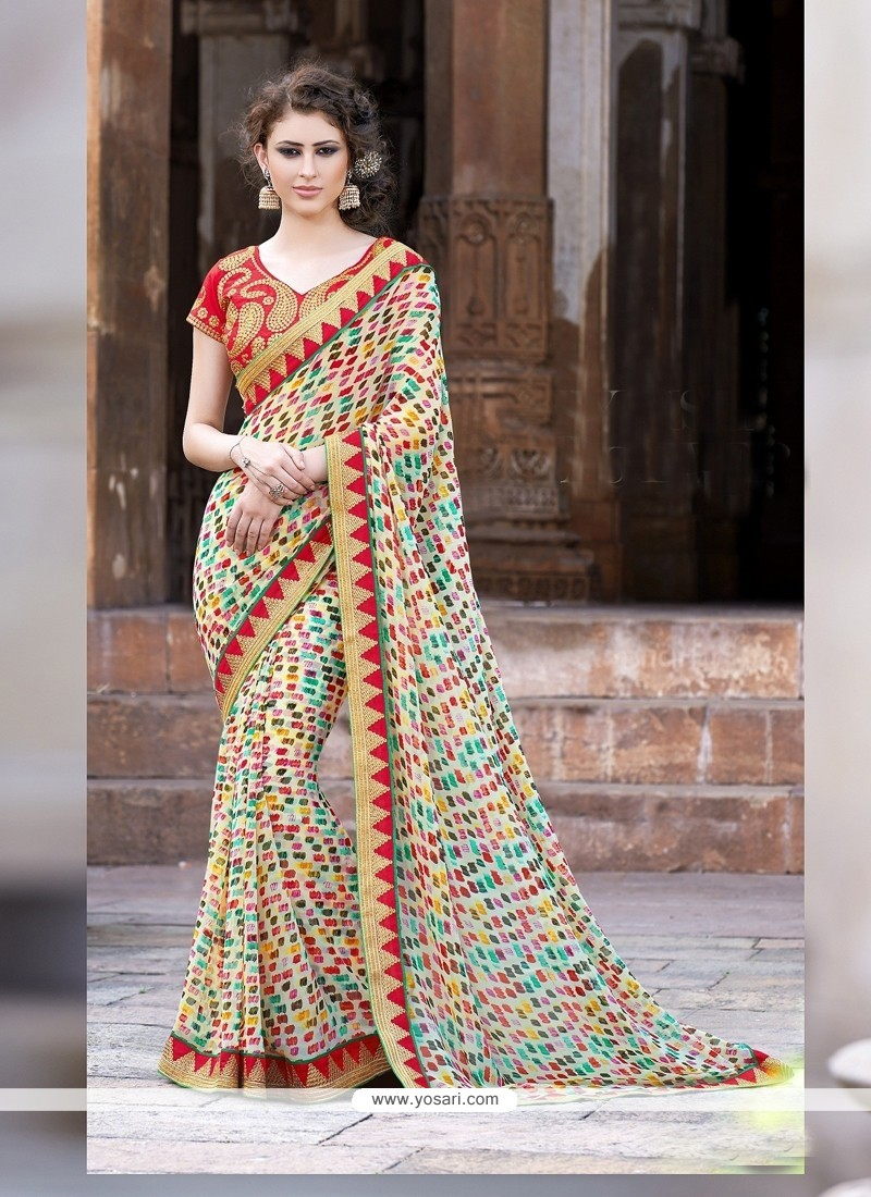 Multicolor Printed Designer Casual Saree