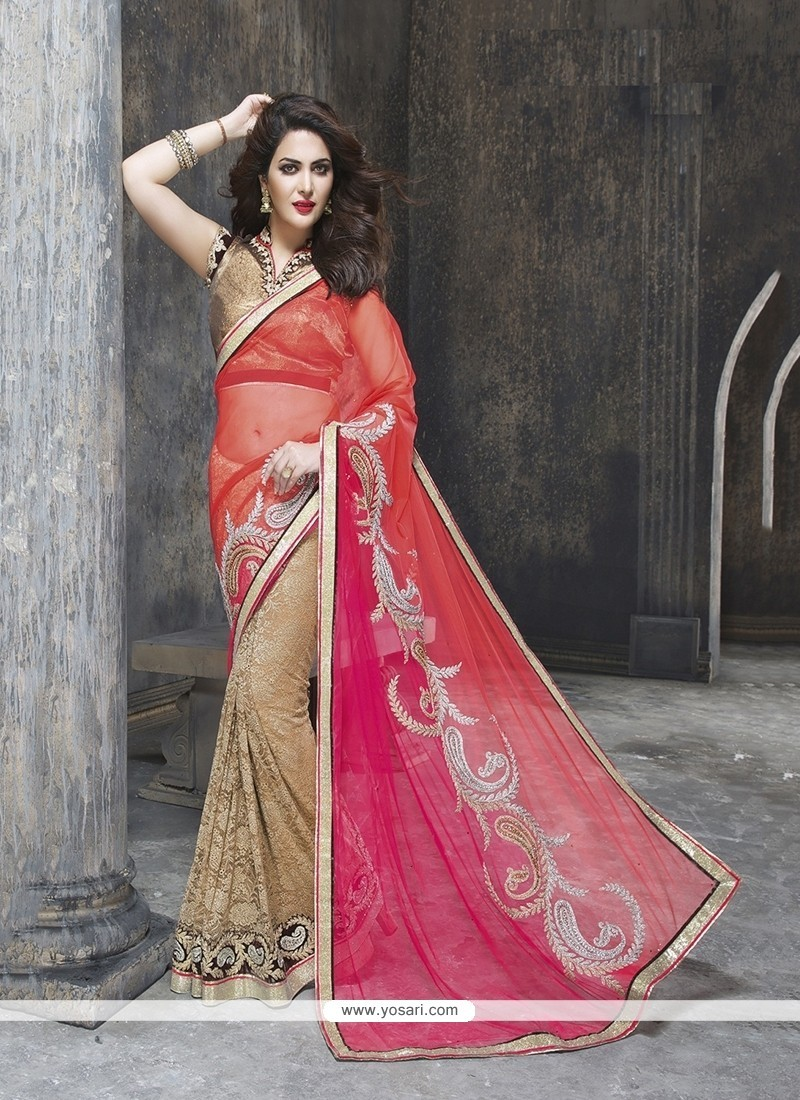 Prepossessing Patch Border Work Beige Classic Designer Saree
