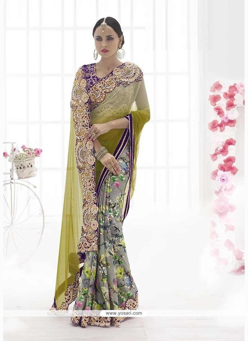 Strange Net Grey Classic Designer Saree