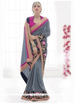 Refreshing Faux Chiffon Patch Border Work Classic Designer Saree