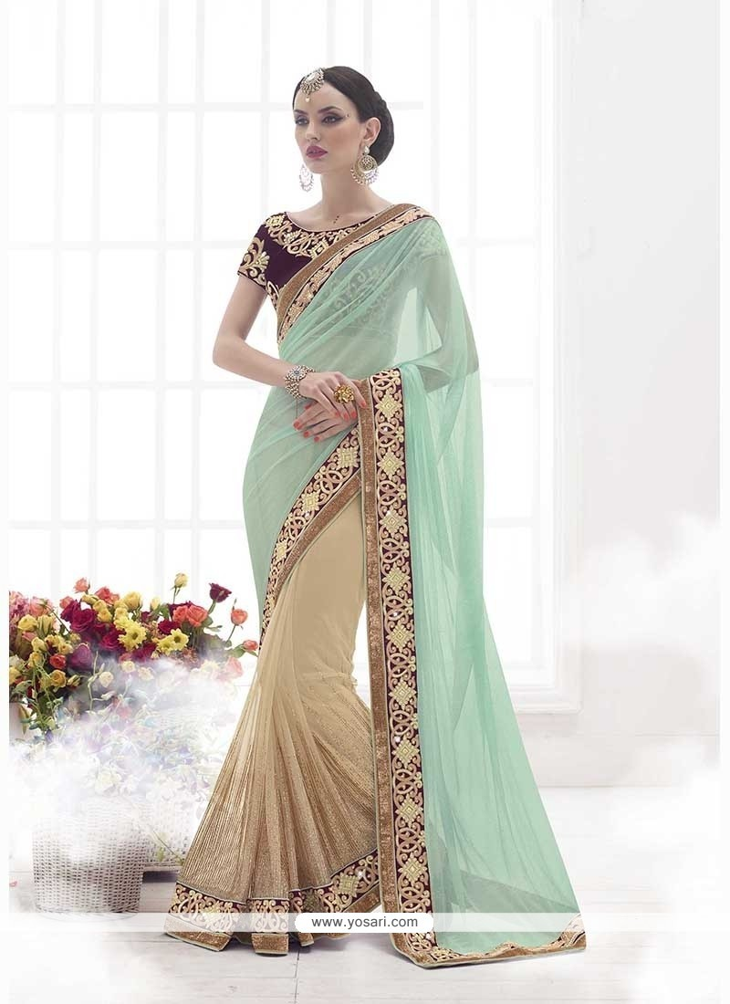 Lavish Net Beige Classic Designer Saree