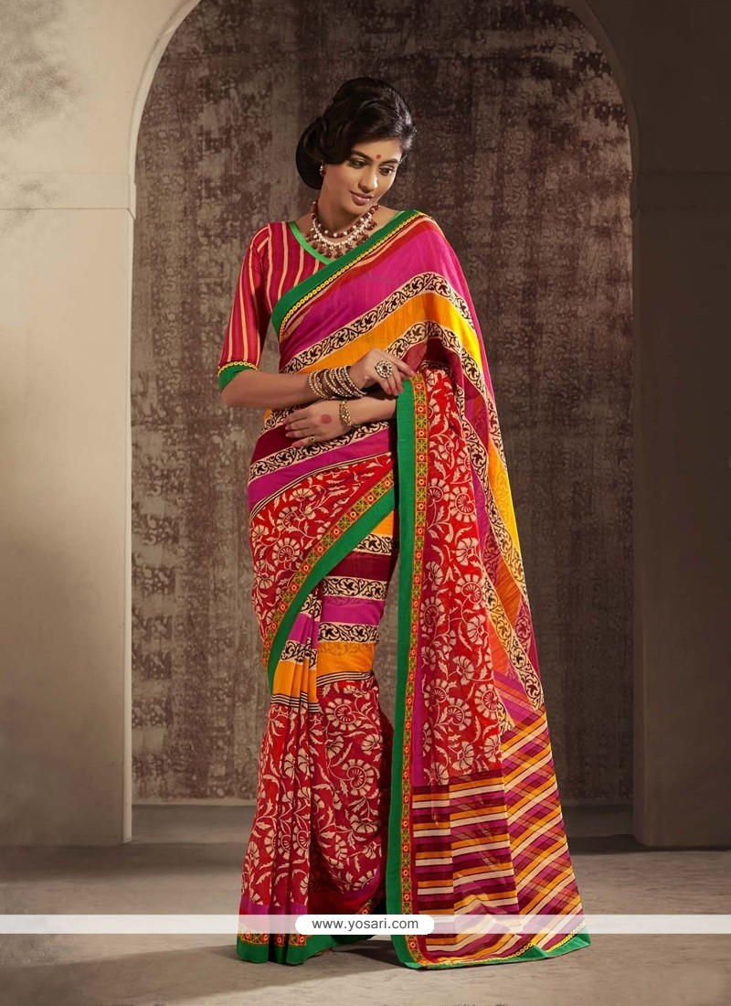Multicolor Printed Cotton Silk Saree