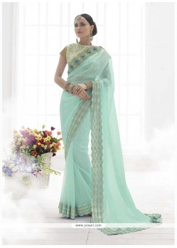 Thrilling Patch Border Work Turquoise Classic Designer Saree