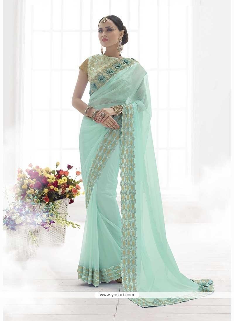 Thrilling Patch Border Work Turquoise Classic Designer Saree