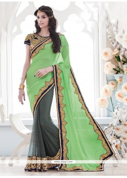 Sea Green Embroidered Work Satin Classic Designer Saree
