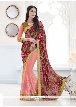 Fashionable Velvet Pink Patch Border Work Classic Designer Saree