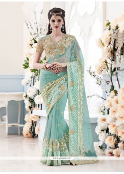 Preferable Turquoise Classic Designer Saree
