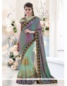 Conspicuous Patch Border Work Art Dupion Silk Classic Designer Saree