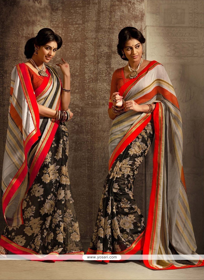 Black And Orange Cotton Silk Saree