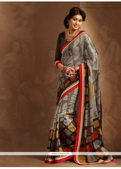 Grey And Black Cotton Silk Saree