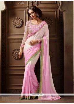 Dashing Pink Georgette Classic Designer Saree