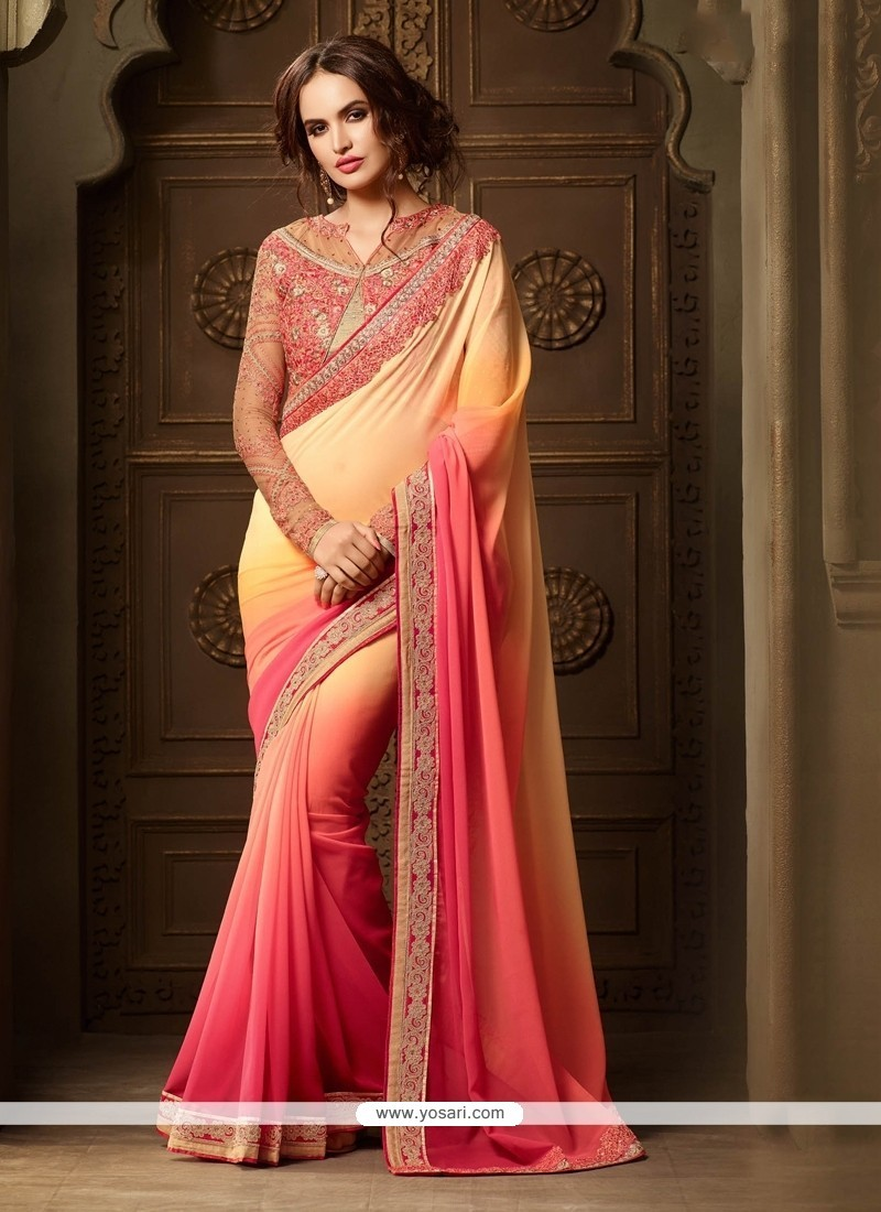 Embroidered Georgette Classic Designer Saree In Pink