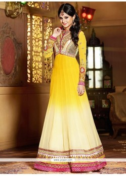 Jenifer Winget Yellow And Off White Georgette Anarkali Suit