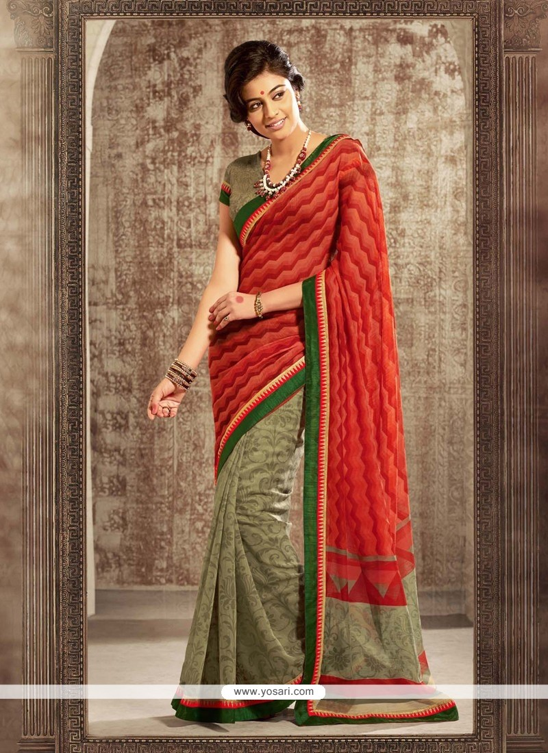 Orange And Green Printed Saree