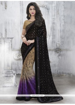 Specialised Patch Border Work Net Classic Designer Saree