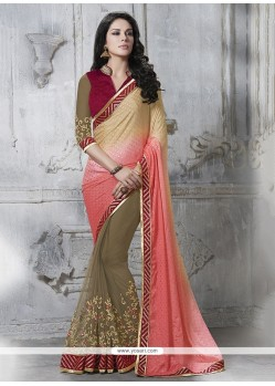 Affectionate Faux Chiffon Embroidered Work Classic Designer Saree