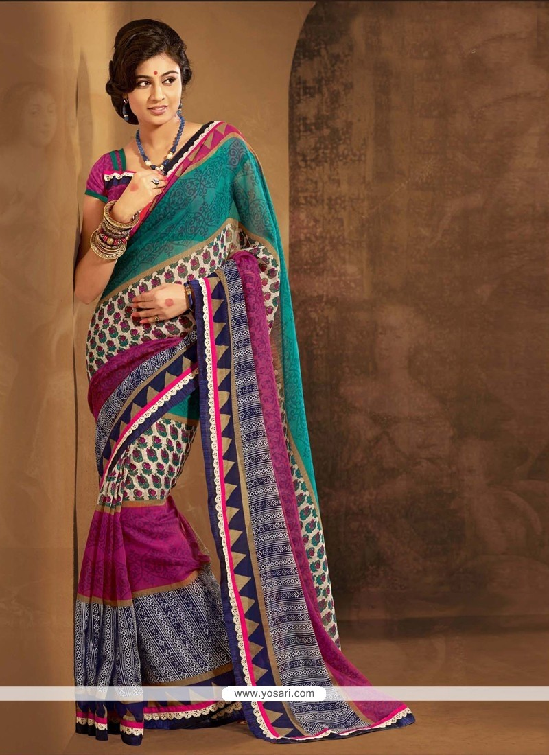Multicolor Cotton Silk Casual Saree