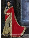 Bewitching Red Embroidered Work Designer Saree