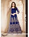 Refreshing Blue Embroidered Work Anarkali Salwar Kameez