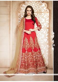 Red Banglori Silk Anarkali Salwar Kameez