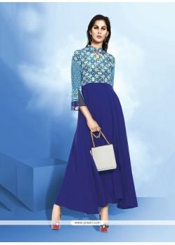 Imperial Blue Print Work Georgette Anarkali Salwar Kameez