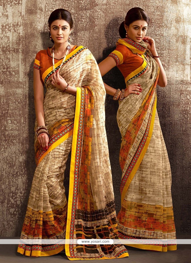 Bedazzling Cream Cotton Silk Designer Saree