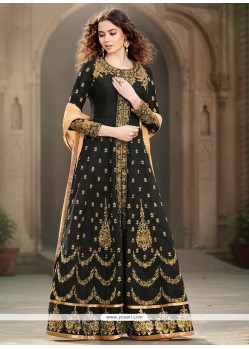Renowned Zari Work Black Banglori Silk Designer Floor Length Suit