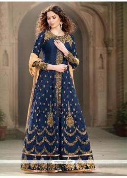 Chic Blue Designer Floor Length Suit