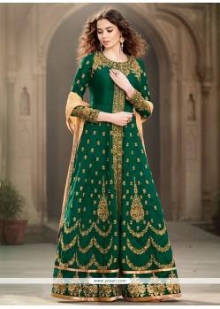 Green Banglori Silk Designer Floor Length Salwar Suit