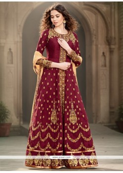 Capricious Banglori Silk Maroon Patch Border Work Designer Floor Length Suit