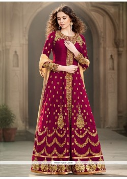 Girlish Magenta Designer Floor Length Salwar Suit