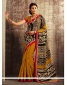 Mustard And Black Cotton Silk Saree