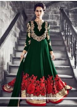 Ruritanian Embroidered Work Green Georgette Anarkali Salwar Kameez