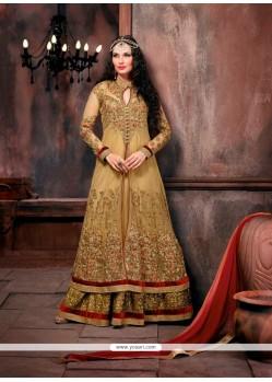 Preferable Beige Patch Border Work Designer Floor Length Salwar Suit