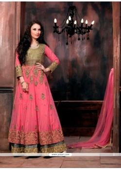 Lovable Patch Border Work Hot Pink Designer Floor Length Salwar Suit