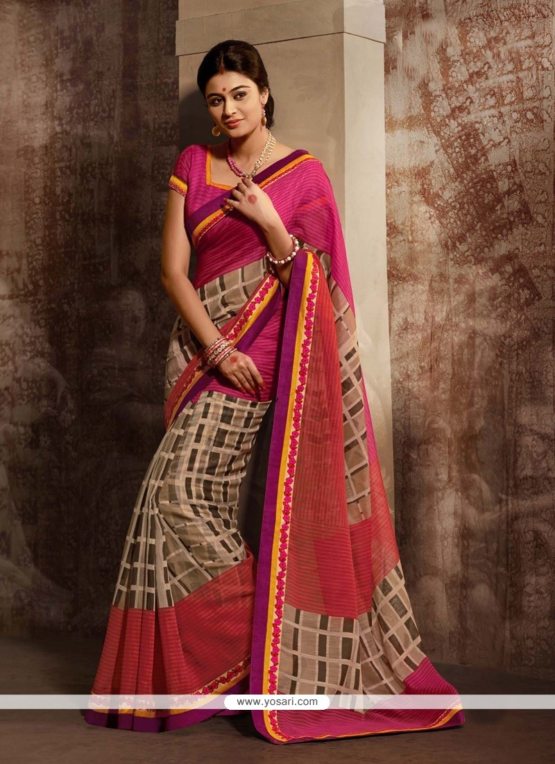 Pink And Brown Shaded Printed Party Wear Saree
