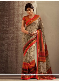 Baronial Brown And Orange Cotton Silk Saree