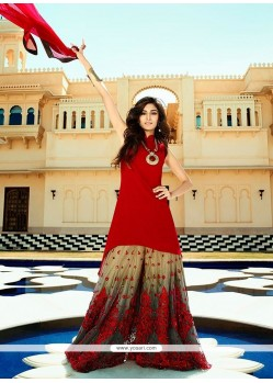 Eye-catchy Georgette Red Embroidered Work Designer Suit