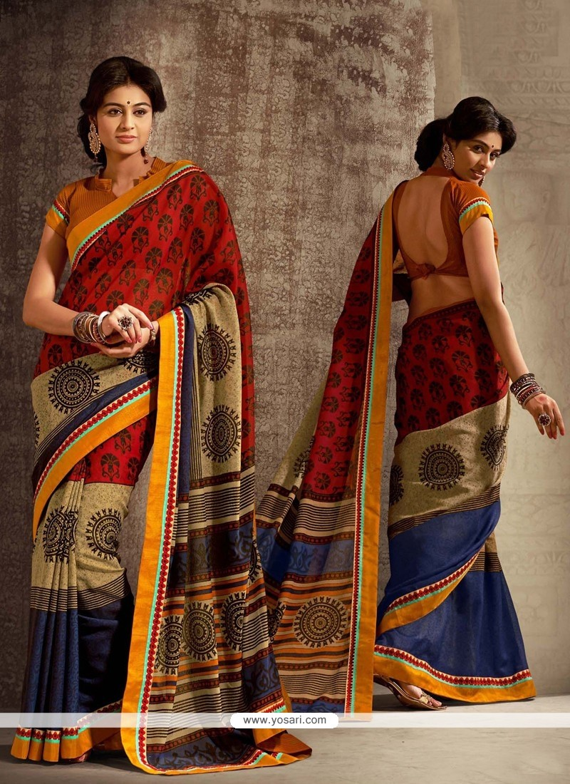 Multicolor Cotton Silk Designer Saree