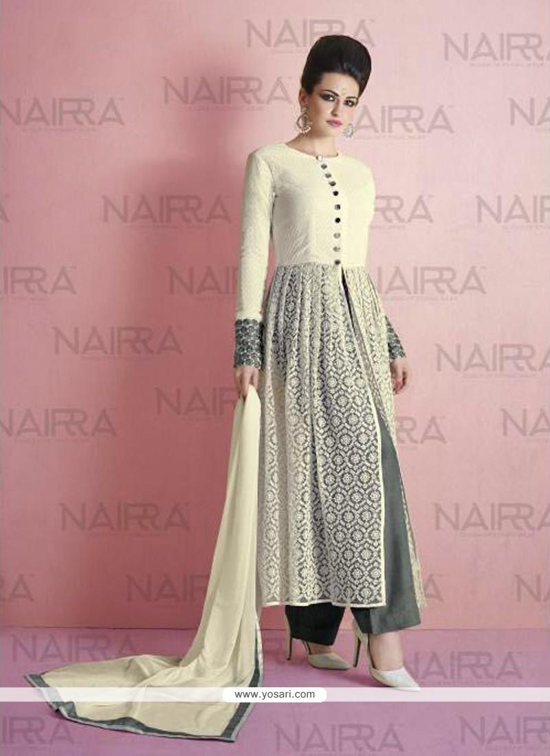 Grandiose Embroidered Work Net Off White Designer Suit
