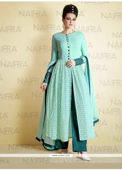 Artistic Lace Work Turquoise Net Designer Suit