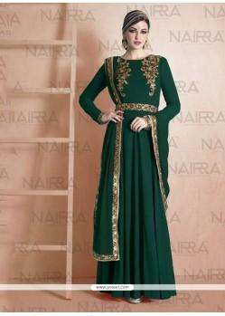 Fine Green Georgette Designer Suit
