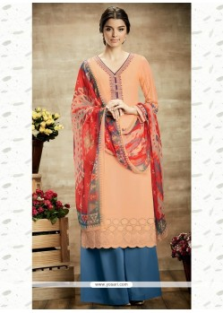 Prodigious Print Work Peach Cotton Designer Suit