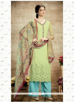 Superb Cotton Green Designer Suit