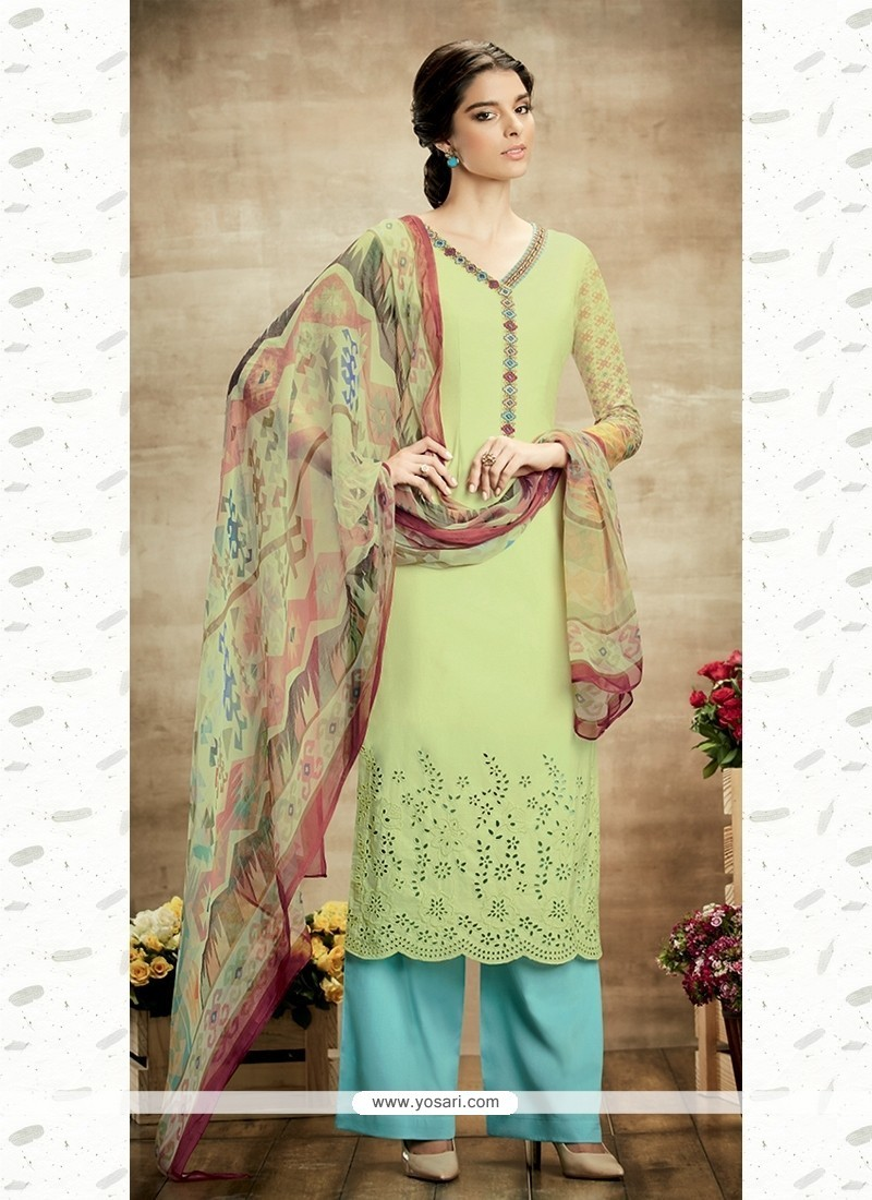 Superb Cotton Green Designer Suit