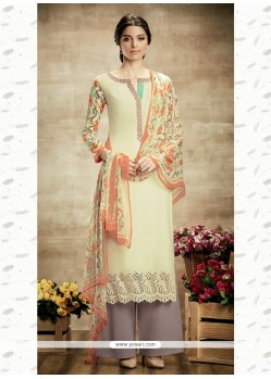 Regal Cotton Cream Print Work Designer Suit