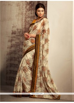 Appealing Cream Shaded Cotton Silk Saree
