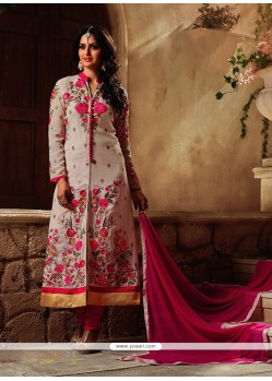 Delectable Georgette Off White Designer Suit