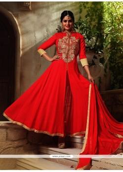 Tantalizing Georgette Red Resham Work Designer Suit