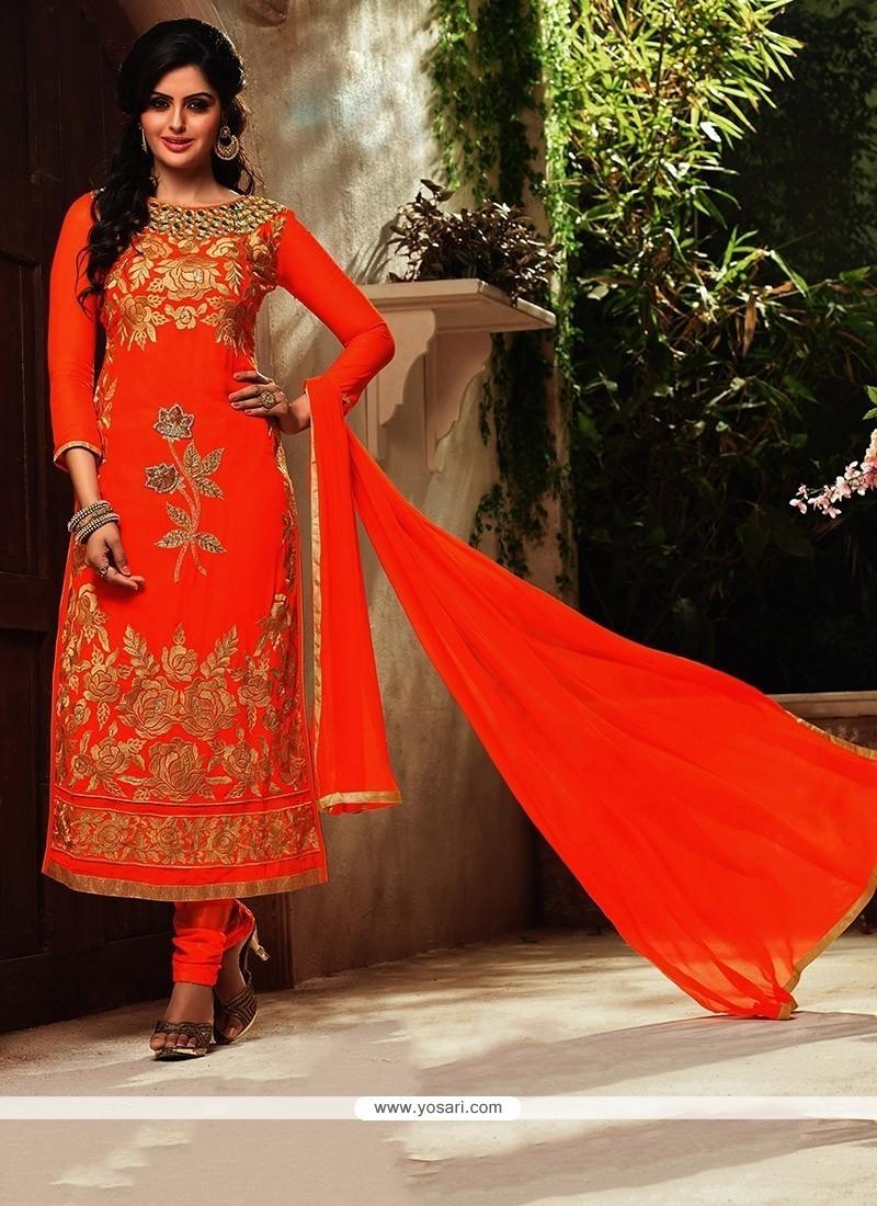 Appealing Resham Work Georgette Orange Designer Suit
